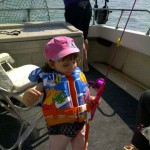 Addison all ready for fishing on Grampa Chuck's Fishing Charters on Lake Erie